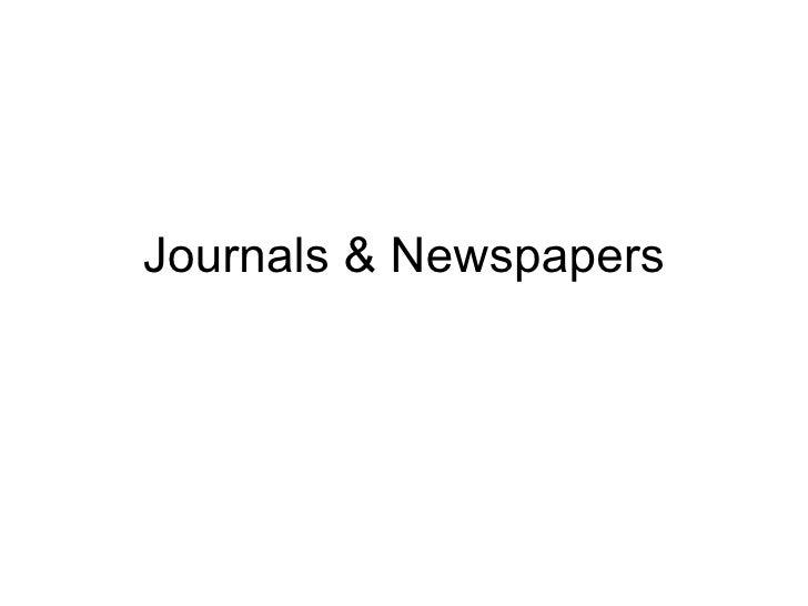 Journals & Newspapers