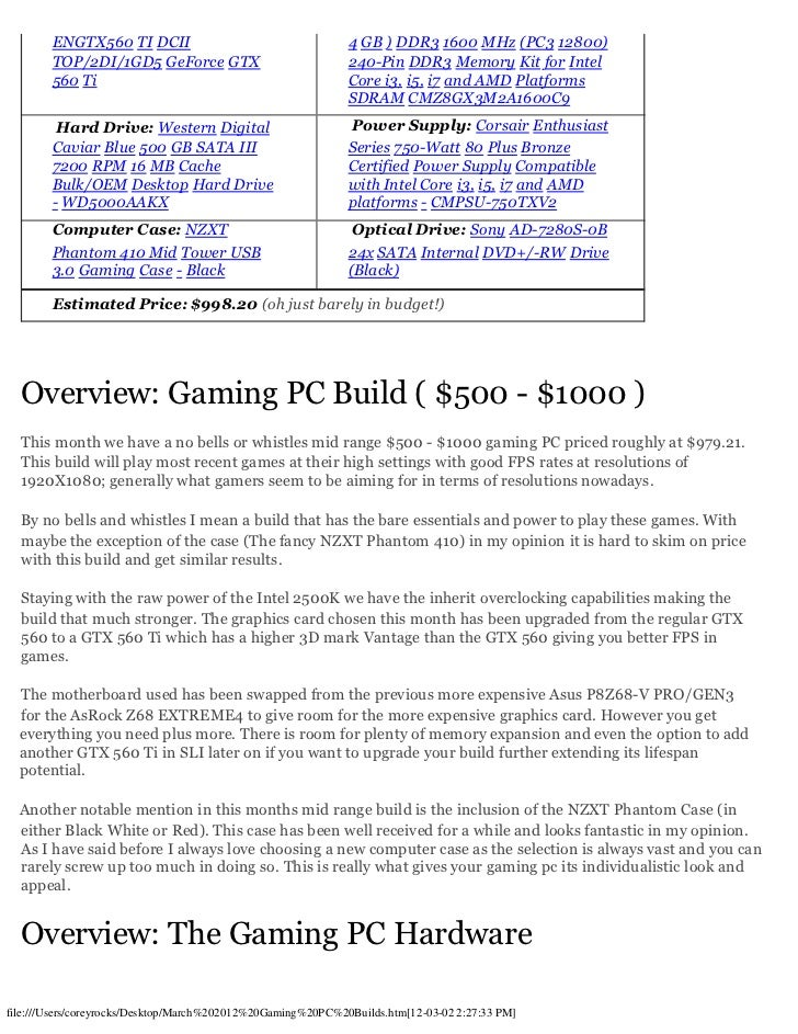 March 2012 Gaming Computer Builds