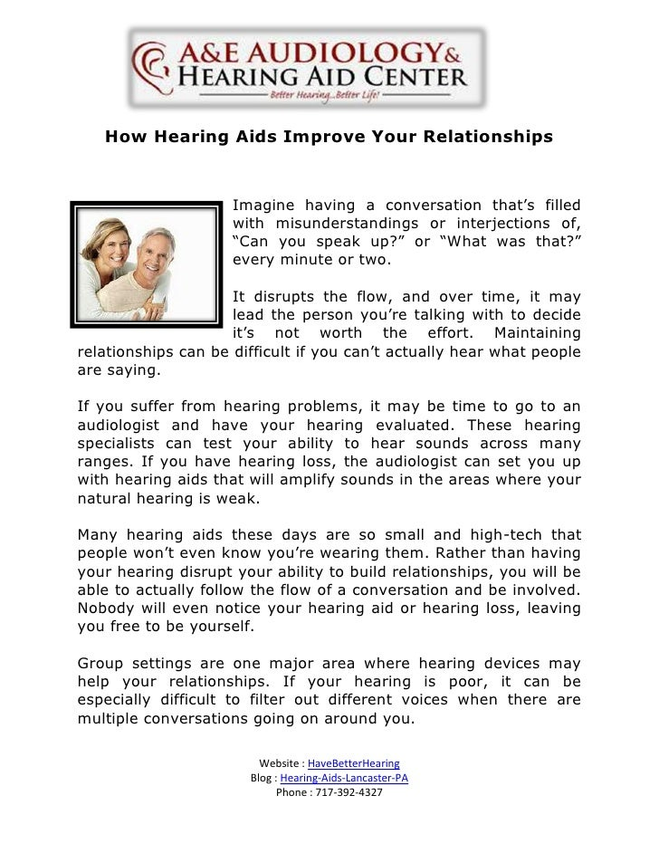 How Hearing Aids Improve Your Relationships                     Imagine having a conversation that's filled               ...