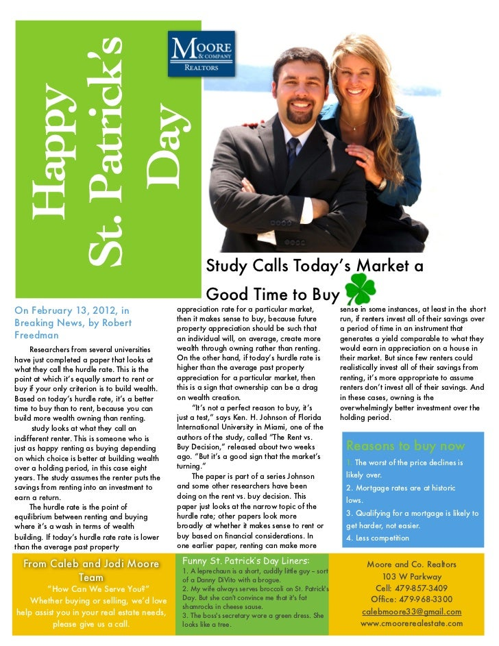 St. Patrick's   Happy     Day                                                          Study Calls Today's Market a       ...