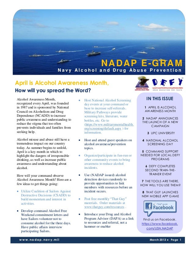 NADAP E-GRAM                             Navy Alcohol and Drug Abuse PreventionApril is Alcohol Awareness Month,How will y...