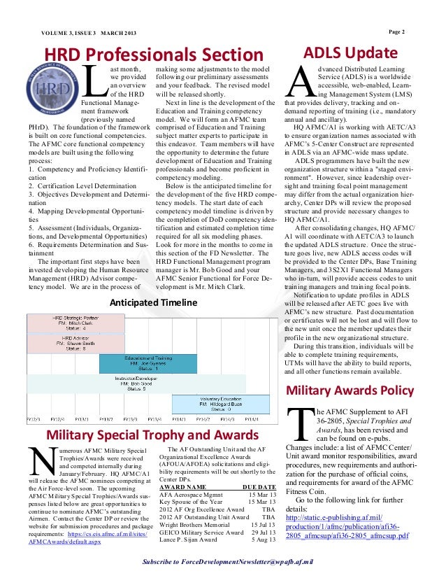 March 2013 force development newsletter