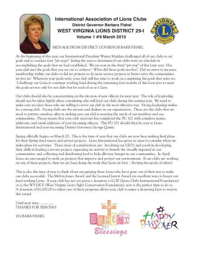 International Association of Lions Clubs                                      District Governor Barbara Fishel            ...