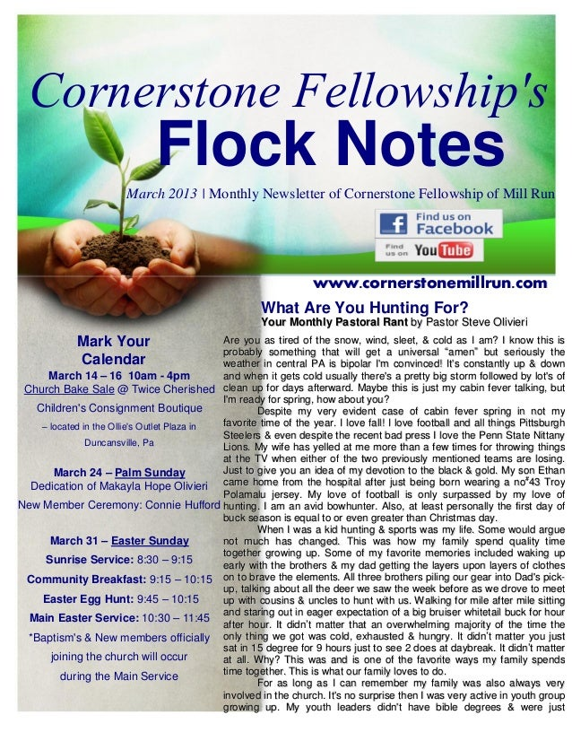 Cornerstone Fellowships                               Flock Notes                        March 2013   Monthly Newsletter o...