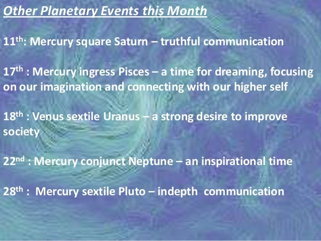 The Planetary Transits of March 2014