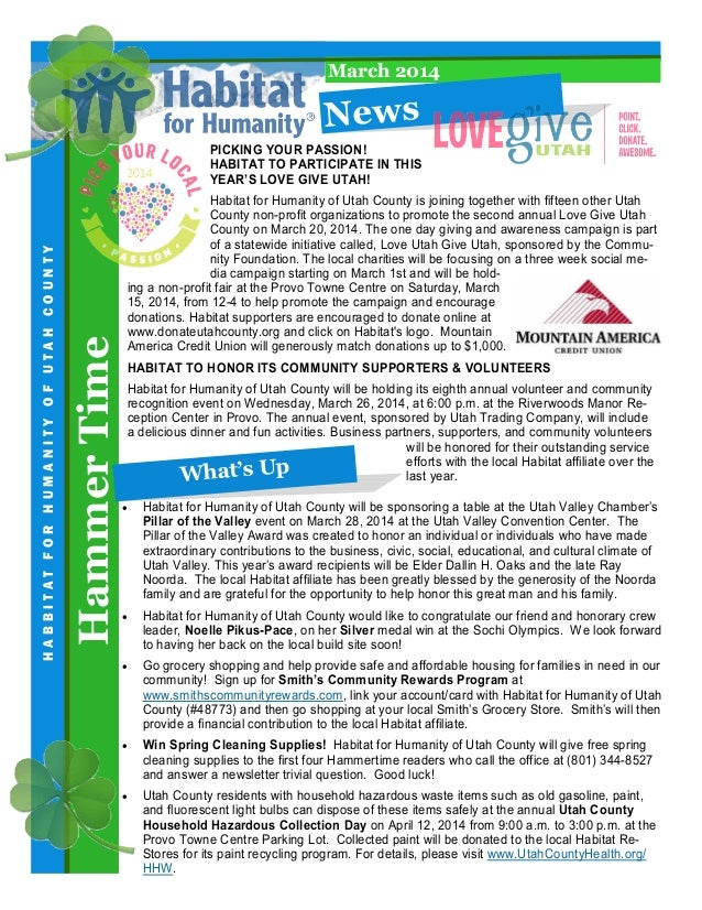 March 2014  N e ws  Hammer Time  HABBITAT FOR HUMANITY OF UTAH COUNTY  PICKING YOUR PASSION! HABITAT TO PARTICIPATE IN THI...