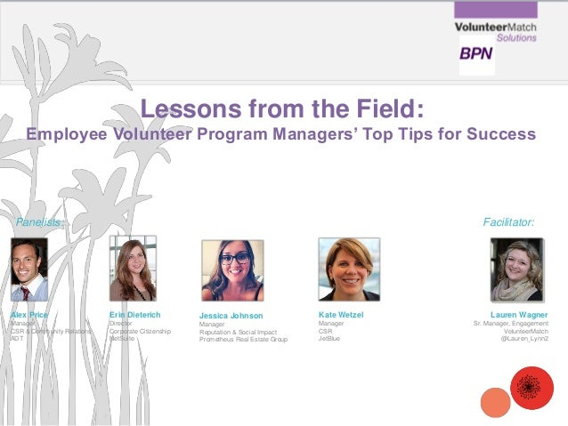 Lessons from the Field: Employee Volunteer Program Managers' Top Tips for Success Erin Dieterich Director Corporate Citize...