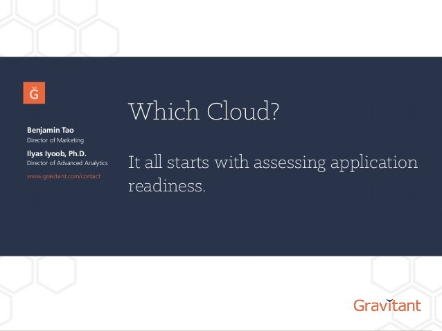 Which Cloud? It all starts with assessing application readiness. Benjamin Tao Director of Marketing www.gravitant.com/cont...