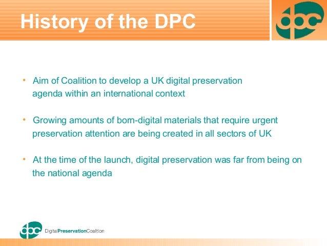20yrs:  2004 The Digital Preservation Coalition (DPC) Slide Set June Slide 3