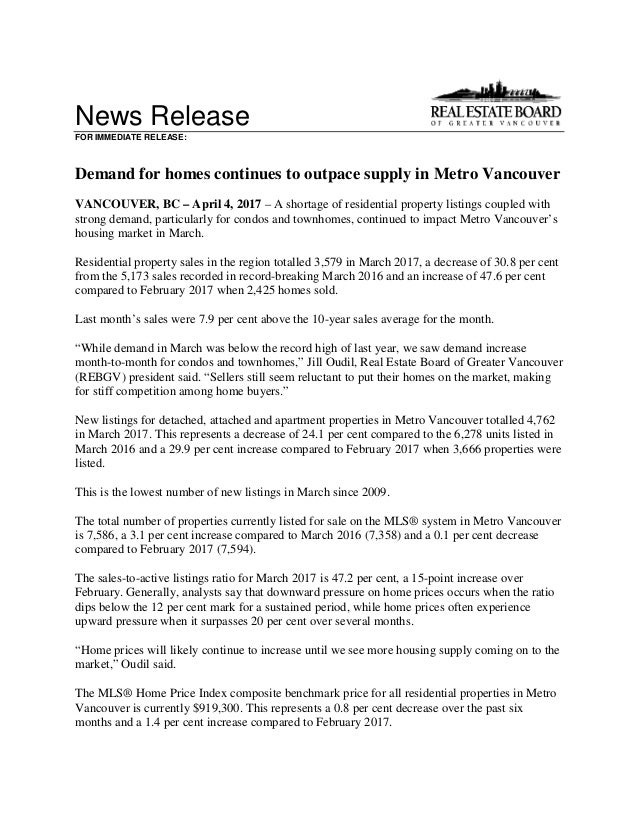 News Release FOR IMMEDIATE RELEASE: Demand for homes continues to outpace supply in Metro Vancouver VANCOUVER, BC – April ...