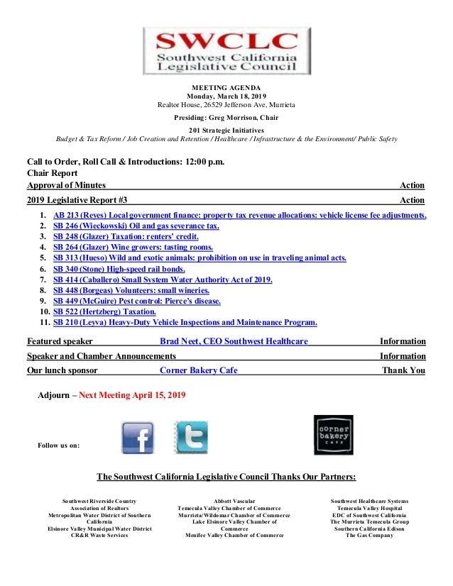 MEETING AGENDA Monday, March 18, 2019 Realtor House, 26529 Jefferson Ave, Murrieta Presiding: Greg Morrison, Chair 201 Str...