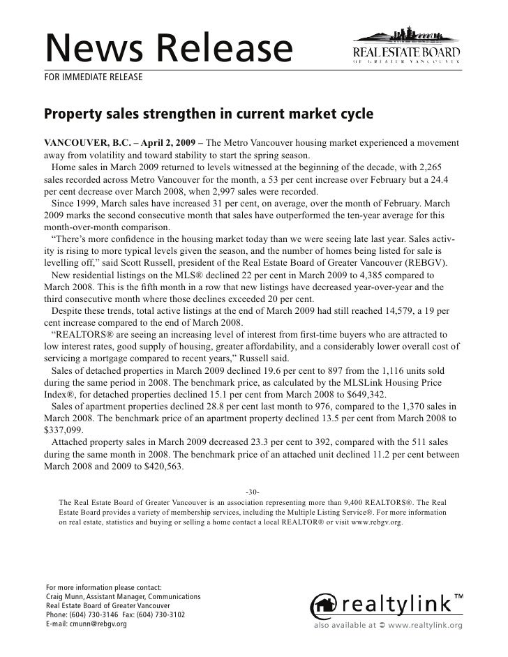 News Release FOR IMMEDIATE RELEASE   Property sales strengthen in current market cycle 9$1&289(5 % ± $SULO  9 ± 7KH 0HWUR ...