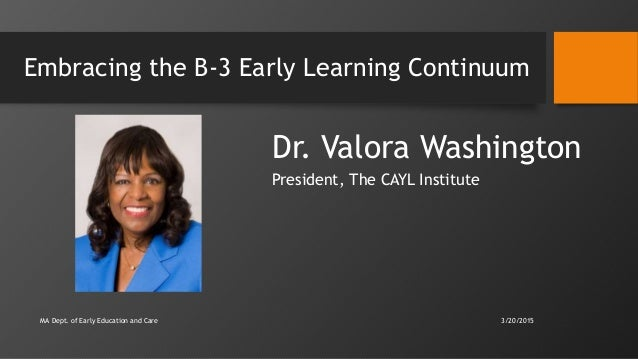 Embracing the B-3 Early Learning Continuum Dr. Valora Washington President, The CAYL Institute MA Dept. of Early Education...