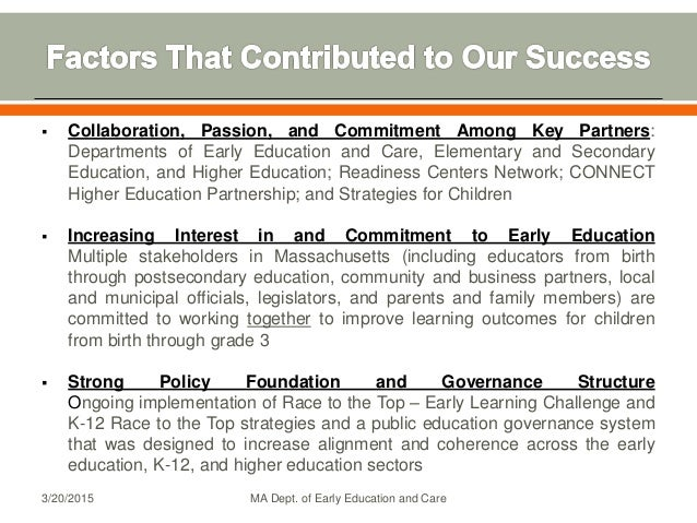  Collaboration, Passion, and Commitment Among Key Partners: Departments of Early Education and Care, Elementary and Secon...