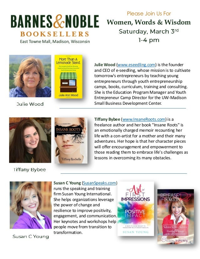 Barnes & Noble Book Signing on March 3rd with Susan Young