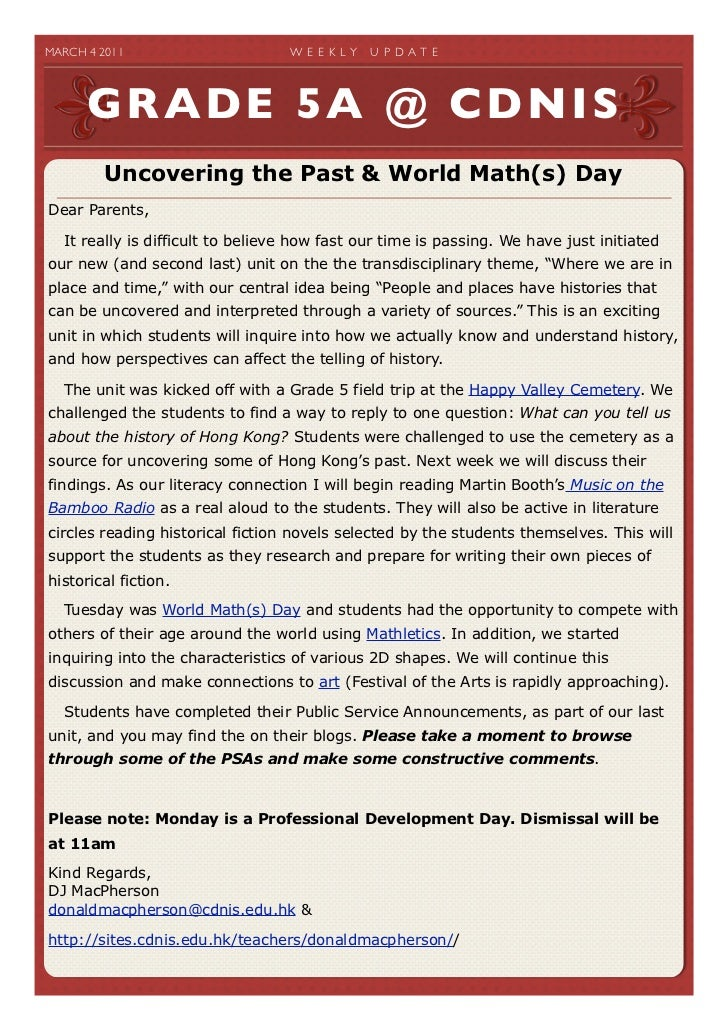 MARCH 4 2011                    W E E K LY   U P D A T E       GRADE 5A @ CDNIS          Uncovering the Past & World Mat...