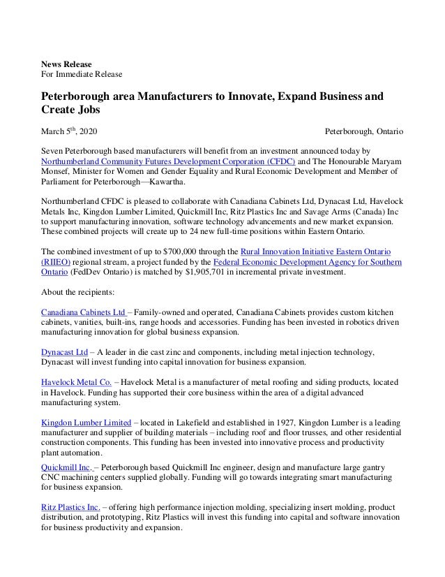 News Release For Immediate Release Peterborough area Manufacturers to Innovate, Expand Business and Create Jobs March 5th ...