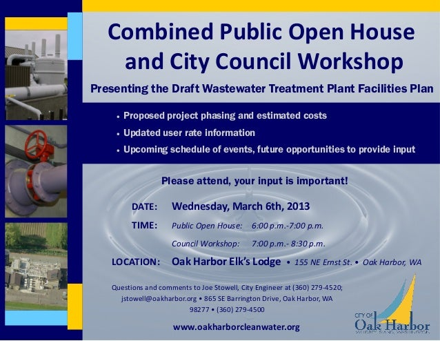 Combined Public Open House    and City Council WorkshopPresenting the Draft Wastewater Treatment Plant Facilities Plan    ...