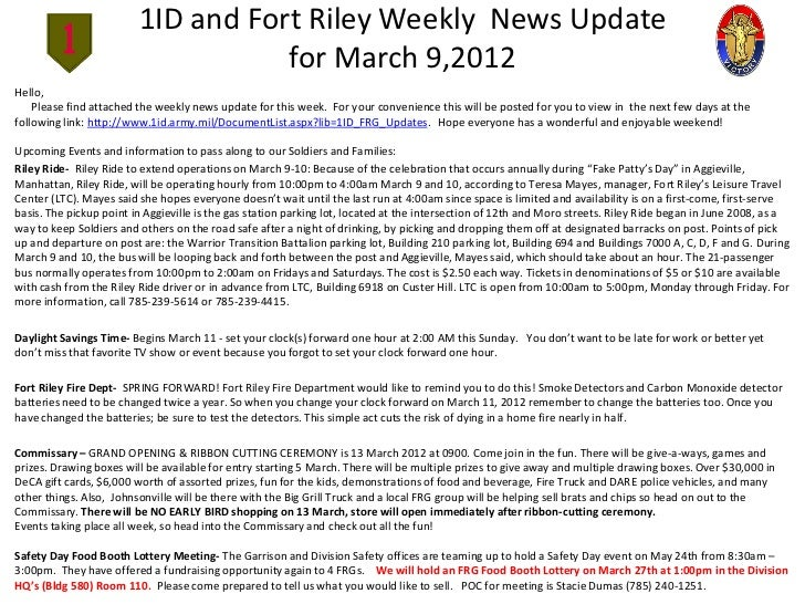 1ID and Fort Riley Weekly News Update                                    for March 9,2012Hello,    Please find attached th...