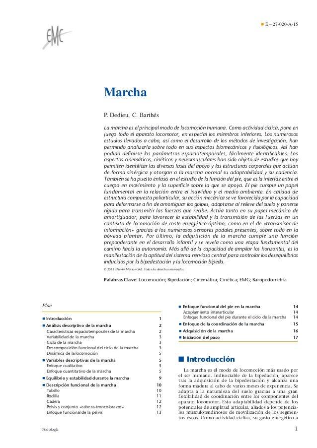 ¶ E – 27-020-A-15  Marcha P. Dedieu, C. Barthés La marcha es el principal modo de locomoción humana. Como actividad cíclic...