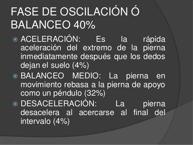 FASE DE OSCILACIÓN Ó BALANCEO 40%  ACELERACIÓN: Es la rápida aceleración del extremo de la pierna inmediatamente después ...