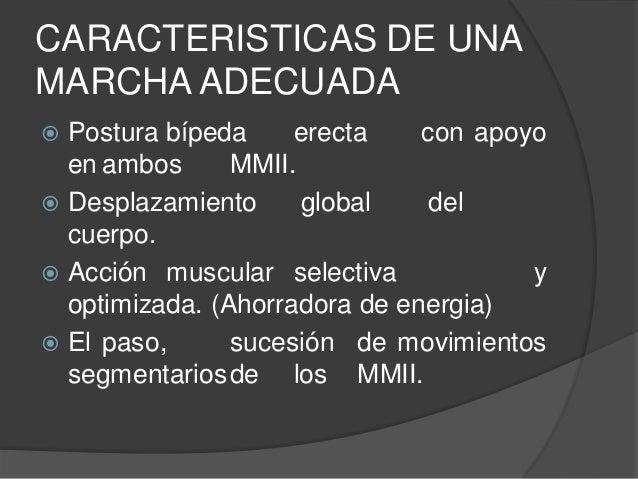 CARACTERISTICAS DE UNA MARCHA ADECUADA  Postura bípeda erecta con apoyo en ambos MMII.  Desplazamiento global del cuerpo...