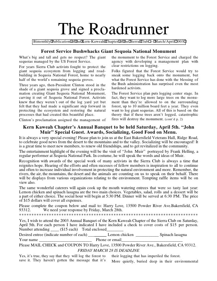 The Roadrunner         Bimonthly Publication of the Kern-Kaweah Chapter of the Sierra Club — March/April 2003             ...