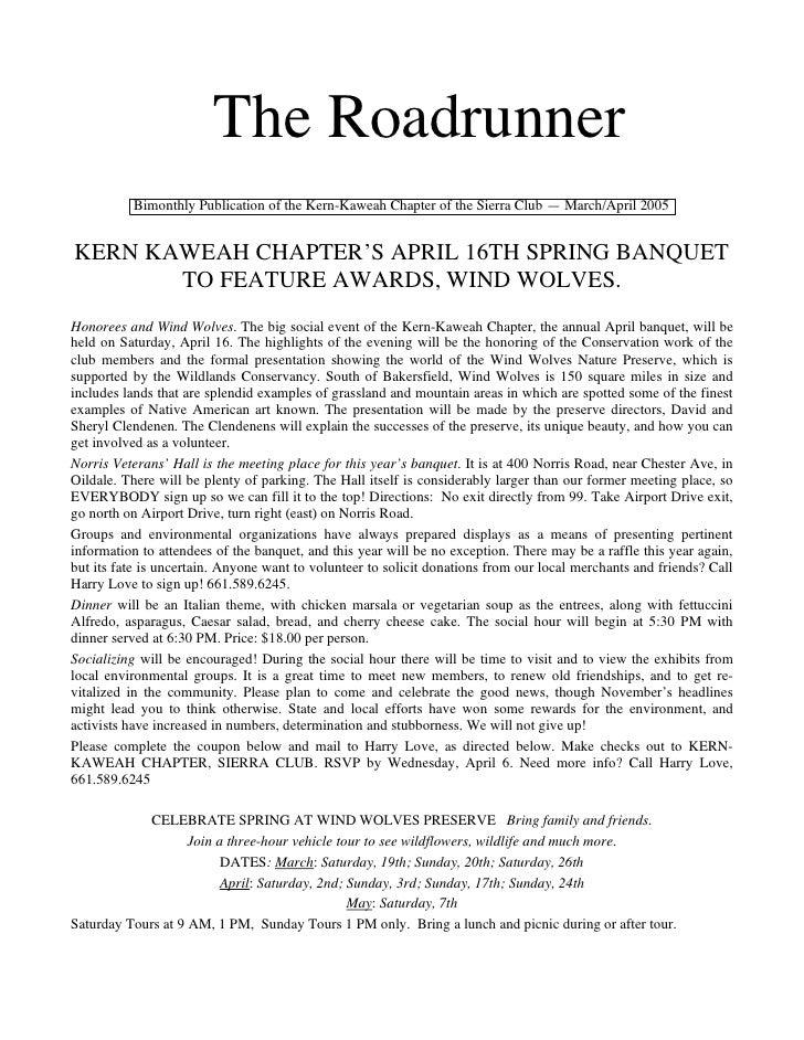The Roadrunner          Bimonthly Publication of the Kern-Kaweah Chapter of the Sierra Club — March/April 2005KERN KAWEAH ...