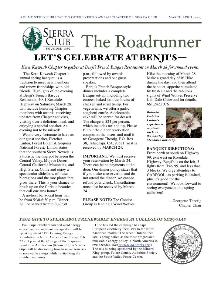 A BI-MONTHLY PUBLICATION OF THE KERN-KAWEAH CHAPTER OF SIERRA CLUB	                           MARCH-APRIL, 2009           ...