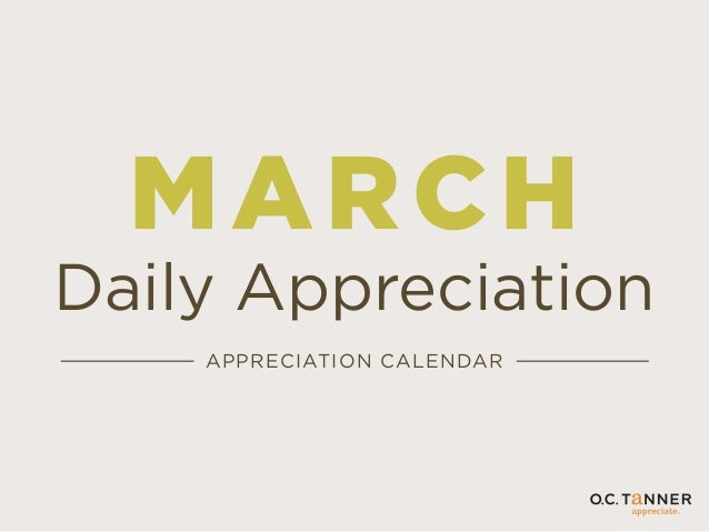 MARCH Daily Appreciation APPRECIATION CALENDAR