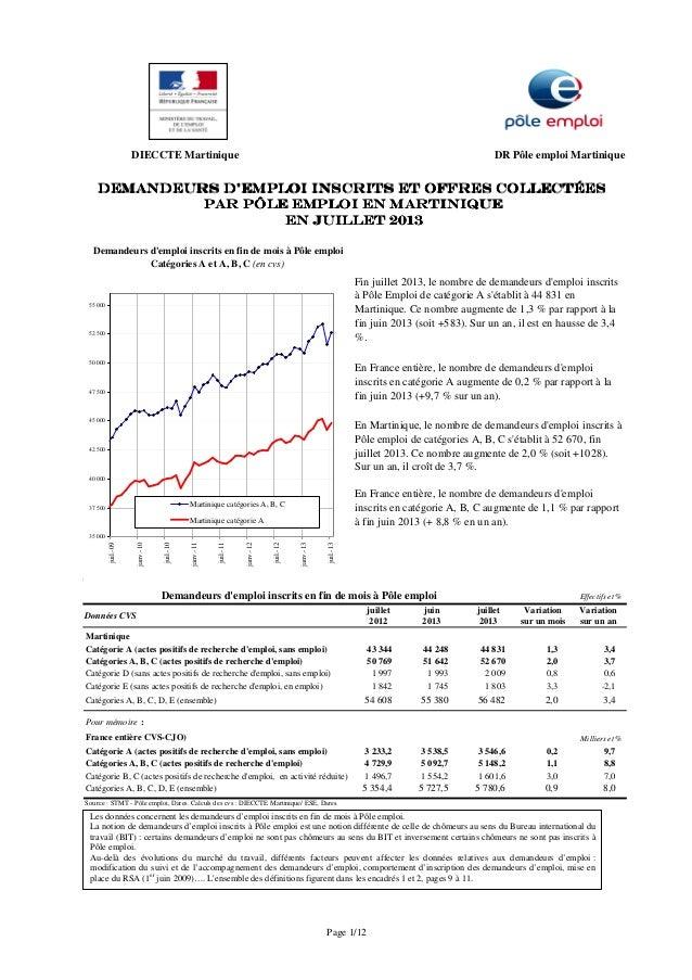 DIECCTE Martinique DR Pôle emploi Martinique 4 juillet juin juillet Variation Variation 2012 2013 2013 sur un mois sur un ...