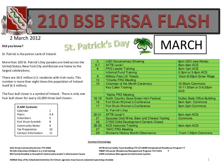 210 BSB FRSA FLASH     2 March 2012Did you know?St. Patrick is the patron saint of Ireland.                               ...