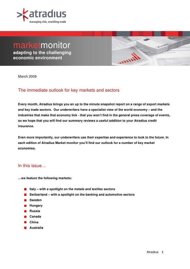 marketmonitor adapting to the challenging economic environment      March 2009      The immediate outlook for key markets ...