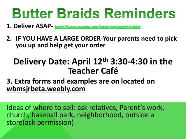 1. Deliver ASAP- 2. IF YOU HAVE A LARGE ORDER-Your parents need to pick you up and help get your order Delivery Date: Apri...