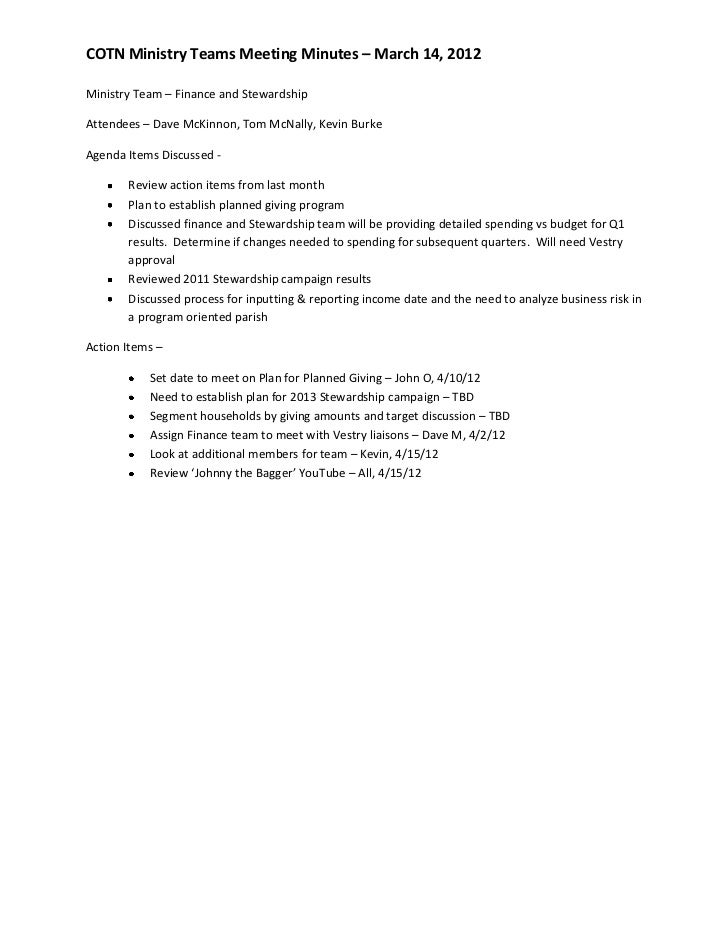 COTN Ministry Teams Meeting Minutes – March 14, 2012Ministry Team – Finance and StewardshipAttendees – Dave McKinnon, Tom ...