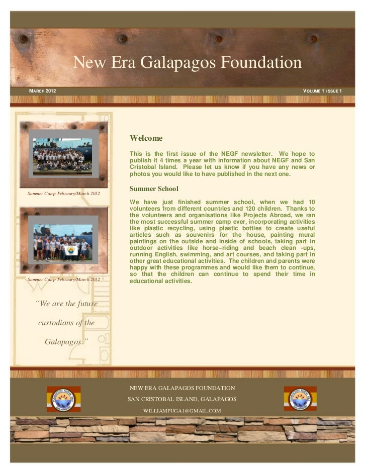 New Era Galapagos FoundationM ARCH 2012                                                                                   ...