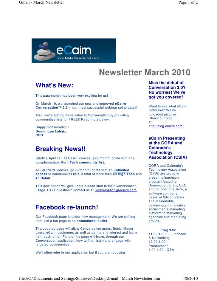 Gmail - March Newsletter                                                                        Page 1 of 2               ...