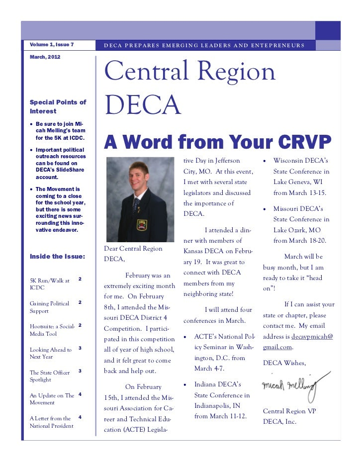 Volume 1, Issue 7        DECA PREPARES EMERGING LEADERS AND ENTEPRENEURSMarch, 2012                         Central Region...