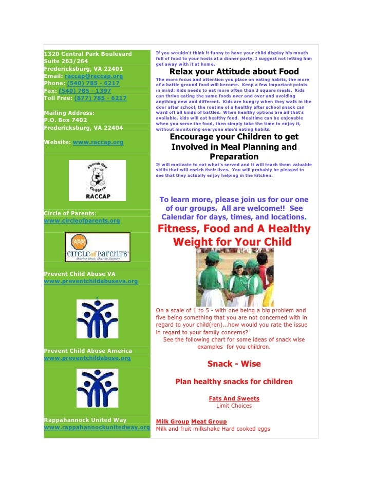 Rappahannock Area Council For Children And Parents Newsletter RACCAP