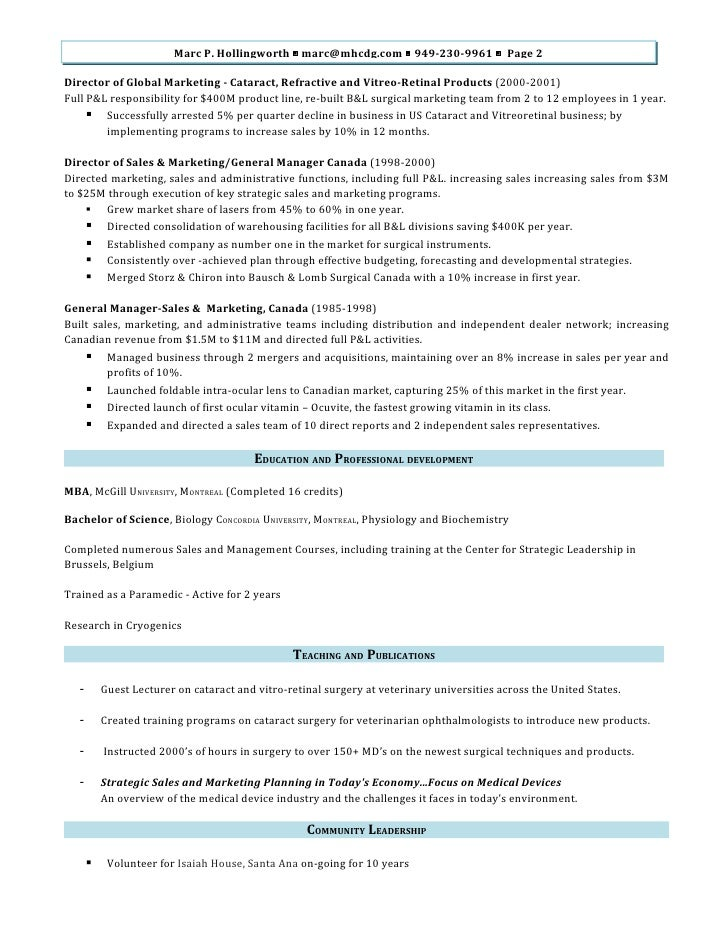 Marc Hollingworth Director Of Sales And Marketing Resume M