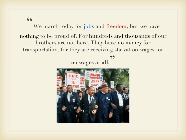 """"""" We  march today for  jobs  and  freedom , but   we have  nothing  to be proud of. For  hundreds and thousands  of our  b..."""