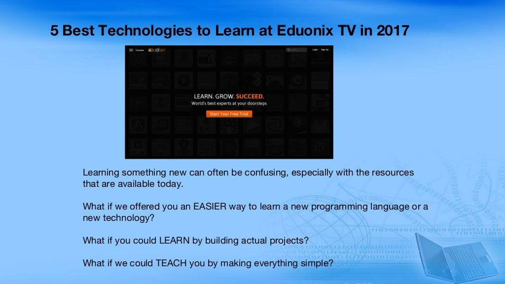 5 Best Technologies to Learn at Eduonix TV in 2017