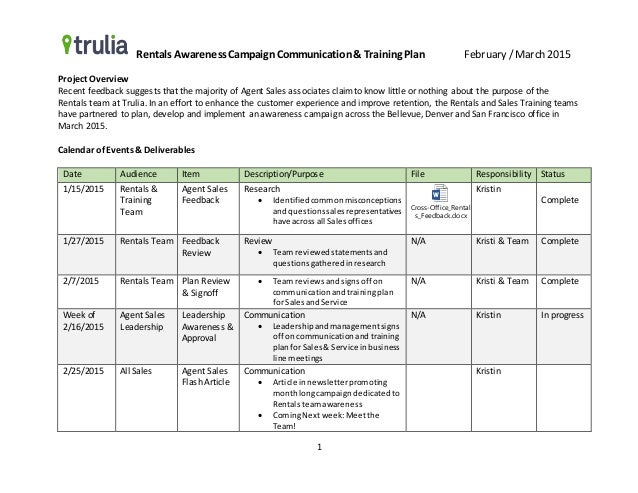 Example Communication U0026 Training Plan. Rentals Awareness  CampaignCommunicationu0026 Training Plan February / March 2015 1 Project  Overview Recent Feedback ... Nice Design