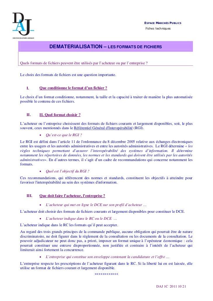 ESPACE MARCHÉS PUBLICS                                                                                  Fiches techniques ...