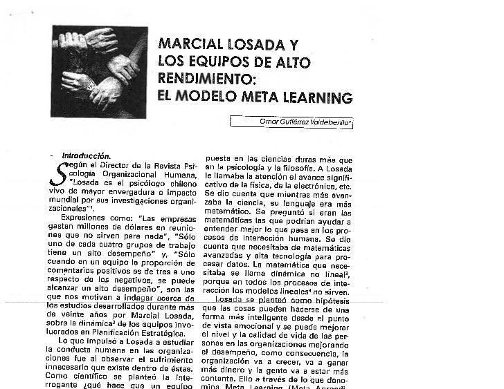 Marcial Losada y los equipos de alto rendimiento: El modelo meta learning