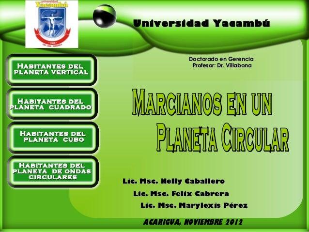 Universidad Yacambú                                   Doctorado en Gerencia Habitantes del                     Profesor: D...