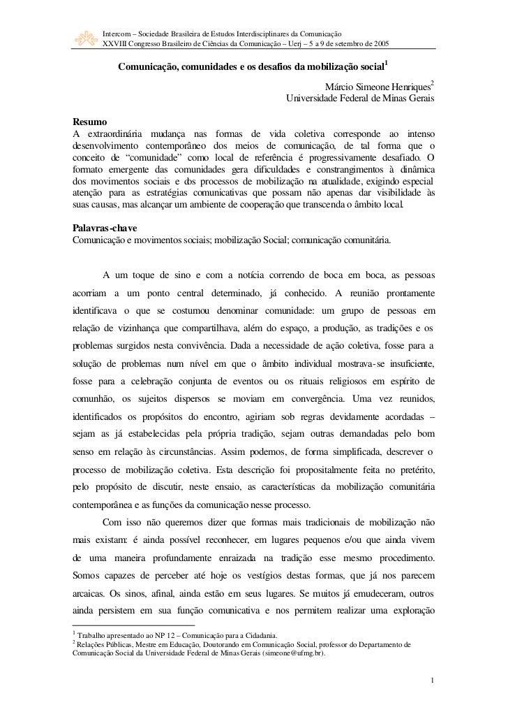 Intercom – Sociedade Brasileira de Estudos Interdisciplinares da Comunicação         XXVIII Congresso Brasileiro de Ciênci...