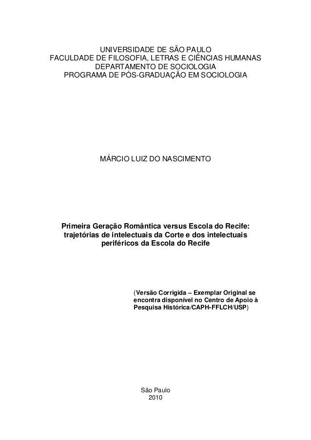 UNIVERSIDADE DE SÃO PAULOFACULDADE DE FILOSOFIA, LETRAS E CIÊNCIAS HUMANAS         DEPARTAMENTO DE SOCIOLOGIA   PROGRAMA D...