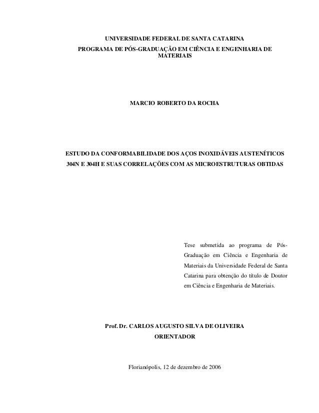 UNIVERSIDADE FEDERAL DE SANTA CATARINA PROGRAMA DE PÓS-GRADUAÇÃO EM CIÊNCIA E ENGENHARIA DE MATERIAIS MARCIO ROBERTO DA RO...