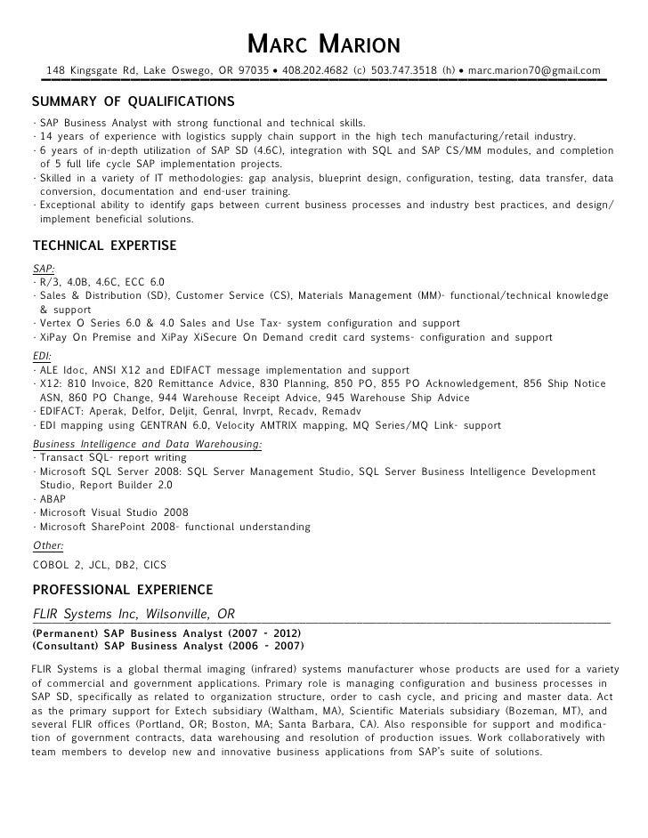 Edi Analyst Resume Resume Ideas